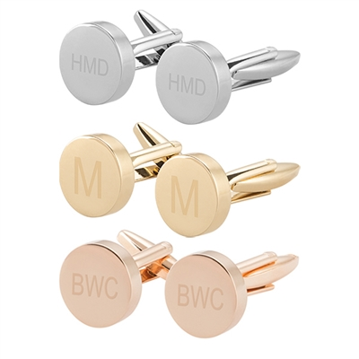 Personalized Round Cuff Links  (3 colors)