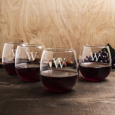 Personalized Stemless Red Wine Glasses Set Of 4 On