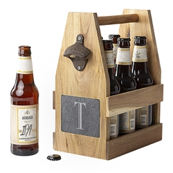 Personalized Acacia Slate Beer Carrier with Bottle Opener and Magnetic Cap Catcher