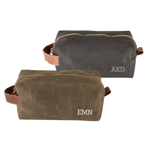 e26744b1c7ac Personalized Men s Waxed Canvas and Leather Dopp Kit- ON SALE at The ...
