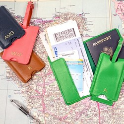 Personalized Leather Passport Holder & Luggage Tag Set (4 colours to choose from!)