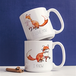 Personalized 20 oz. Fox Large Coffee Mugs (Set of 2)