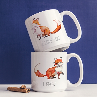 Personalized 20 Oz Fox Large Coffee Mugs Set Of 2 On Sale At The Wedding Shoppe Canada