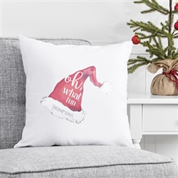 "Personalized Oh What Fun Santa Hat 16"" Throw Pillow"