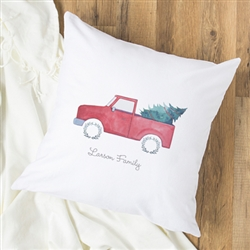 "Personalized Christmas Tree Truck 16"" Throw Pillow"