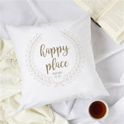 "Personalized Happy Place 16"" Throw Pillow"