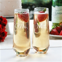 Mr. & Mrs. Stemless Champagne Toasting Flutes