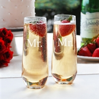 Mr. & Mr. Stemless Champagne Toasting Flutes