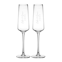 Personalized Wedding Champagne Glasses, Set of 2