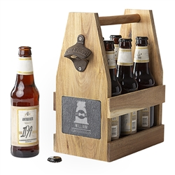 Wedding Personalized Acacia Slate Beer Carrier with Bottle Opener and Magnetic Cap Catcher