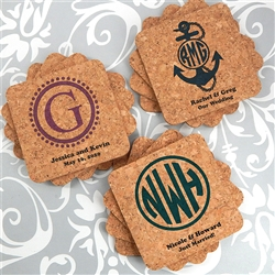 Monogram Square Cork Coasters