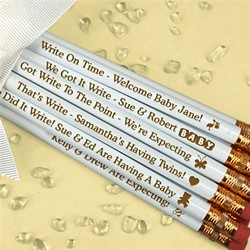 Personalized Baby White Pencils (Set of 12)