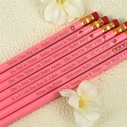 Personalized Baby Pink Pencils (Set of 12)