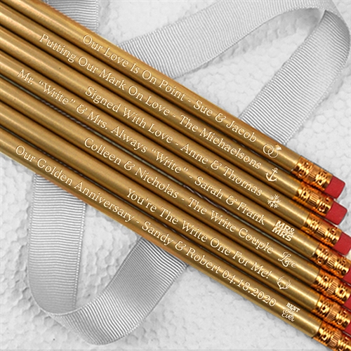 Personalized Gold Pencils Set Of 12 ON SALE At The Wedding Shoppe Canada