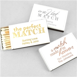 """Perfect Match"" Metallic Foil Personalized Matches - Set of 50 (White Box)"