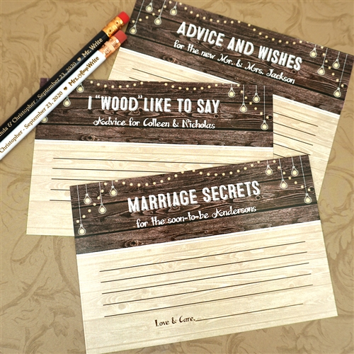 Personalized Wood Sign Advice Cards Set Of 25