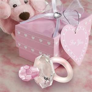 <em>Choice Crystal</em> pink pacifier favors