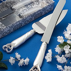 interlocking hearts design cake knife/server set