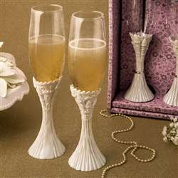 Fairytale design / Cinderella theme flute champagne set of two toasting glasses