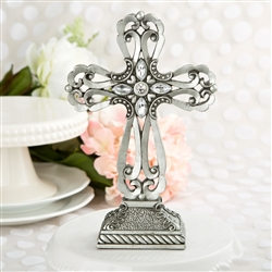 Large pewter cross with rhinestones