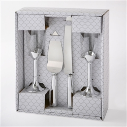 Plain Elegance Silver 4 piece glass and server set