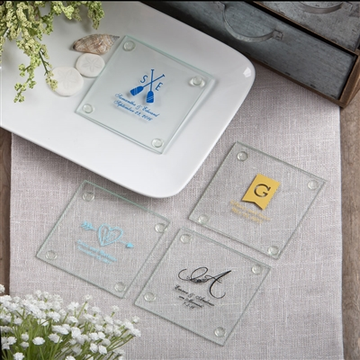 Monogram Collection Glass Coasters