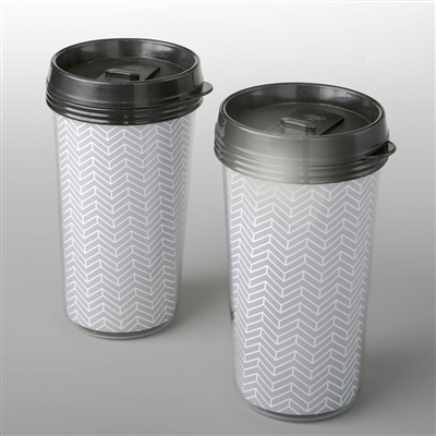Double wall insulated Coffee cup with silver chevron design