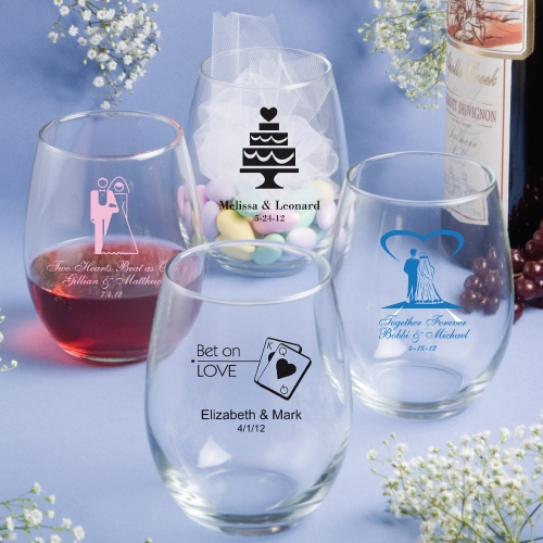 Personalized Wedding Gifts Canada: Personalized Glassware 15 Ounce Stemless Wine Glasses
