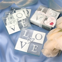 Love Glass Coaster Favors (Set of 4)
