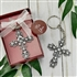 Silver Cross Keychain with Rhinestones Favor