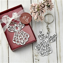 Silver Angel Keychain with Rhinestones Favor