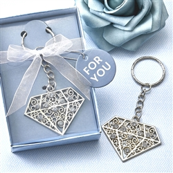 Silver Diamond Design Keychain with Rhinestones Favor
