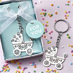 Oh Baby Silver Metal Baby Carriage Key Chain