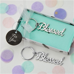 Blessed Theme Silver Key Chain Favor