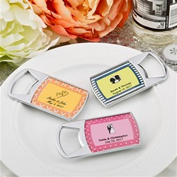 PERSONALIZED EPOXY DOME CHROME METAL BOTTLE OPENER