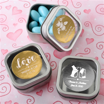 Clear Top Mint Tin Favors with Personalized Metallic Label