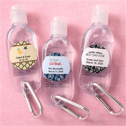 PERSONALIZED EXPRESSIONS HAND SANITIZER IN A CLEAR PLASTIC CONTAINER WITH FLIP OPEN TOP