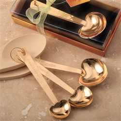 GOLD STAINLESS STEEL HEART SHAPED MEASURING SPOONS