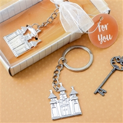 Silver castle key chain