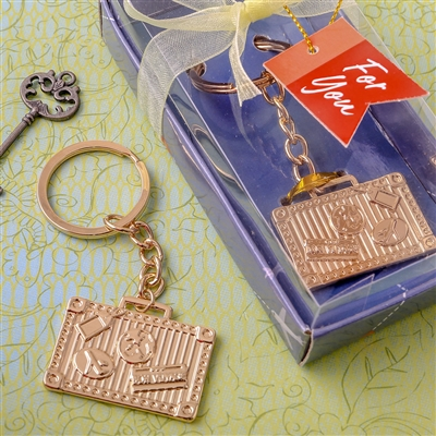 Gold luggage tag key chain