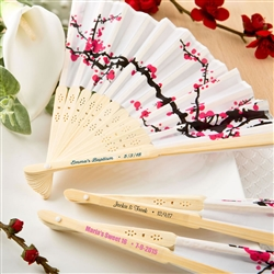 Cherry Blossom Design Silk Hand Fan w/ personalized label