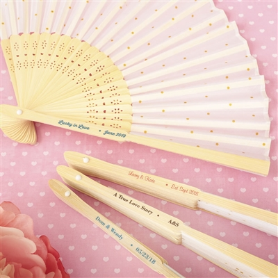 Gold Dot Silk Folding Fan Favor w/ personalized label