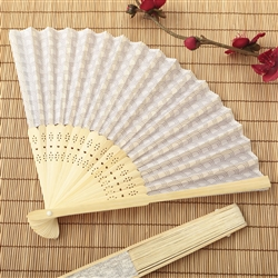 Silver Scallop Silk Folding Fan Favor - Clearance