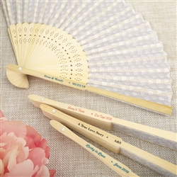 Silver Scallop Hand Fan Favor w/ Personalized Label
