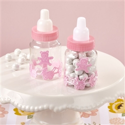 Baby girl pink decorated baby bottle