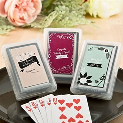 Vintage Design Playing Card favors with Personalized Sticker