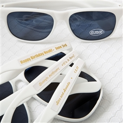 Personalized metallics collection white sunglasses with personalized sticker