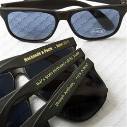 Personalized metallics collection black sunglasses with personalized sticker