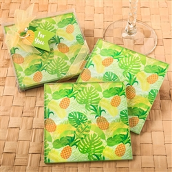 Set of 2 tropical pineapple themed glass coasters