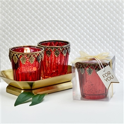 Red Mercury Glass East Asian Themed Candle Holder Favor